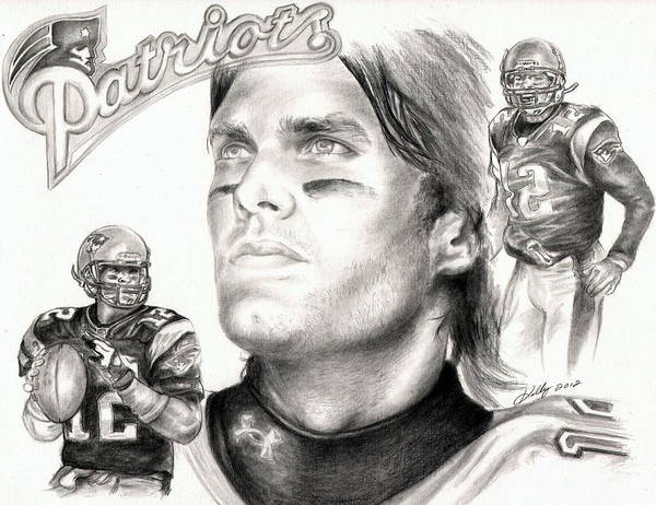 Nfl Drawing - Tom Brady by Kathleen Kelly Thompson