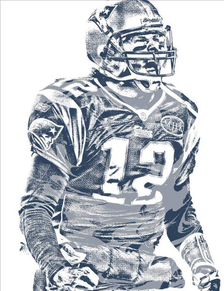 Wall Art - Mixed Media - Tom Brady New England Patriots Pixel Art 41 by Joe Hamilton