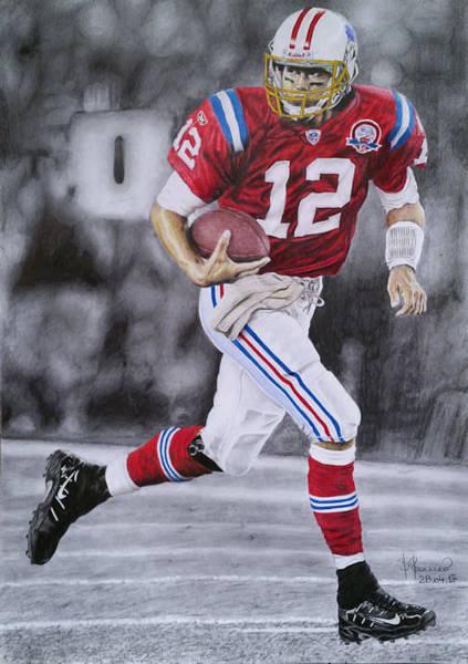 Super Bowl Drawing - Tom Brady - New England Patriots by Romeo Bucur