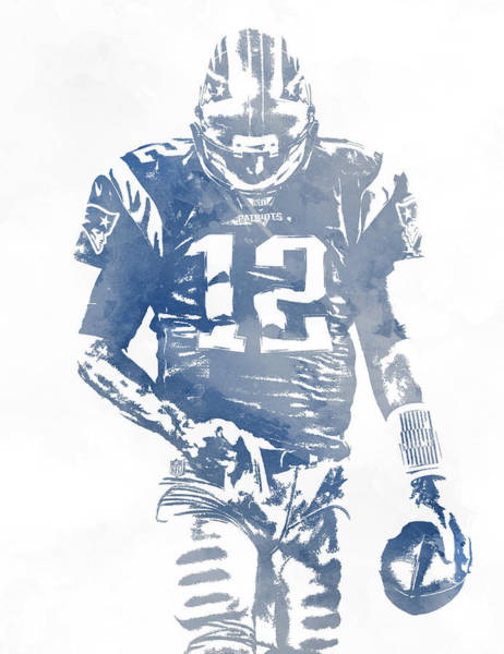 Wall Art - Mixed Media - Tom Brady New England Patriots Water Color Pixel Art 8 by Joe Hamilton