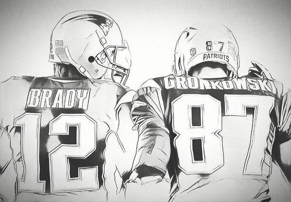 Wall Art - Drawing - Tom Brady Rob Gronkowski Sketch by Dan Sproul
