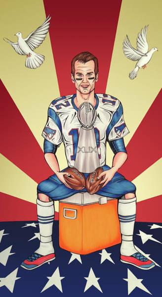 Super Bowl Drawing - Tom Brady Soft Balls Hard Trophy by Adam Campbell