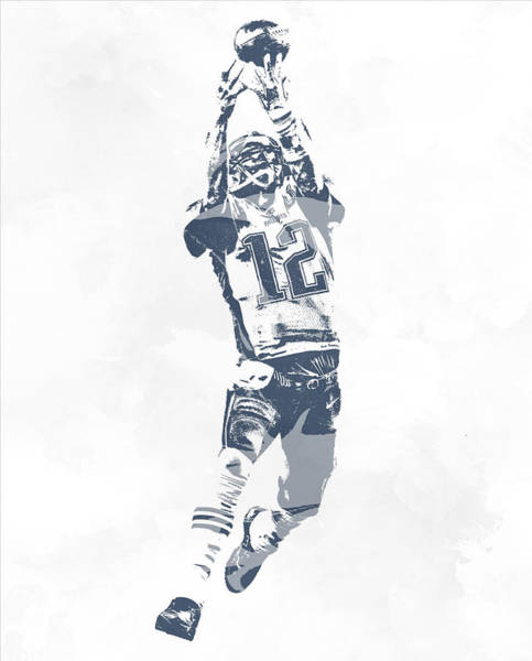 Wall Art - Mixed Media - Tom Brady The Drop New England Patriots Pixel Art by Joe Hamilton
