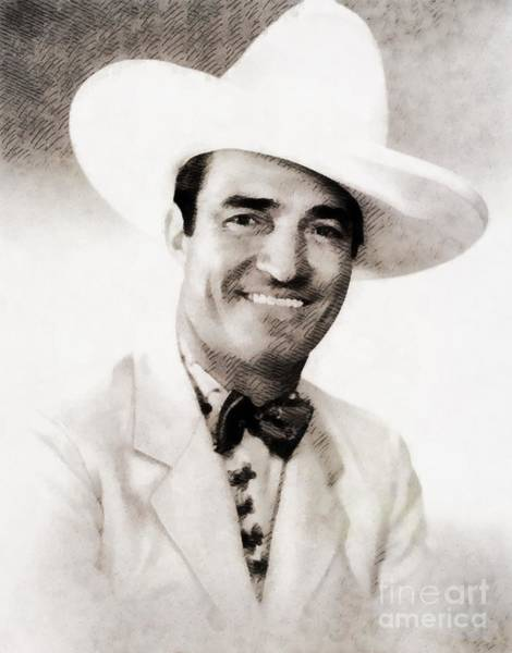 Cowboy Movie Wall Art - Painting - Tom Mix, Vintage Actor by John Springfield