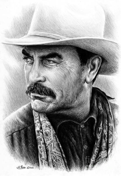 Scarf Drawing - Tom Selleck by Andrew Read