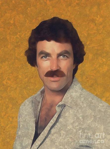 Wall Art - Painting - Tom Selleck, Hollywood Legend by Mary Bassett