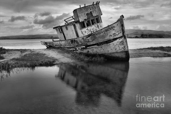 Photograph - Tomales Bay Black And White Shipwreck by Adam Jewell