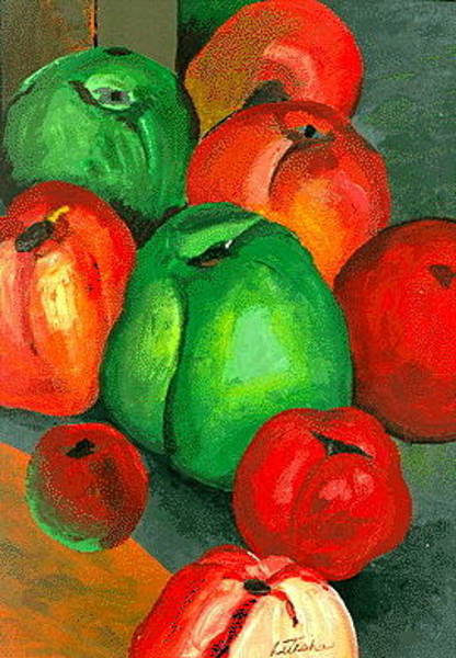 Green Painting - Tomato Peppers by Art By Naturallic