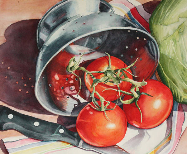 Cabbage White Painting - Tomato Reflections by Marsha Chandler