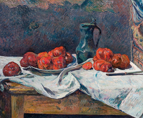 Painting - Tomatoes And A Pewter Tankard On A Table by Paul Gauguin