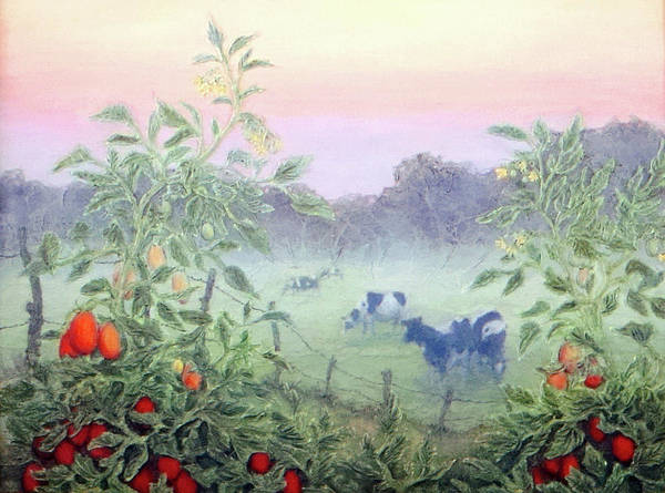 Farm Landscape Mixed Media - Tomatoes In The Mist by Lee Baker DeVore