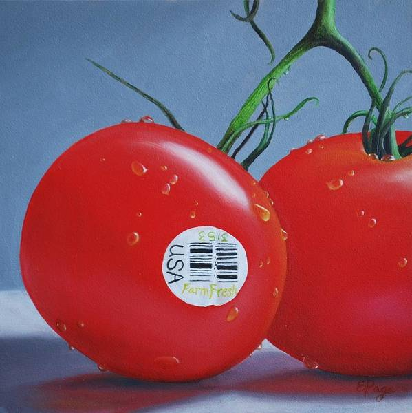 Tomatoes With Sticker Art Print