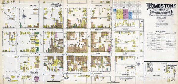 Tombstone Arizona Photograph - Tombstone Arizona Fire Insurance Map 1886 by Daniel Hagerman