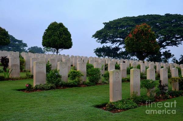 Photograph - Tombstones Of Soldiers At Kranji Commonwealth War Cemetery Graveyard Singapore by Imran Ahmed