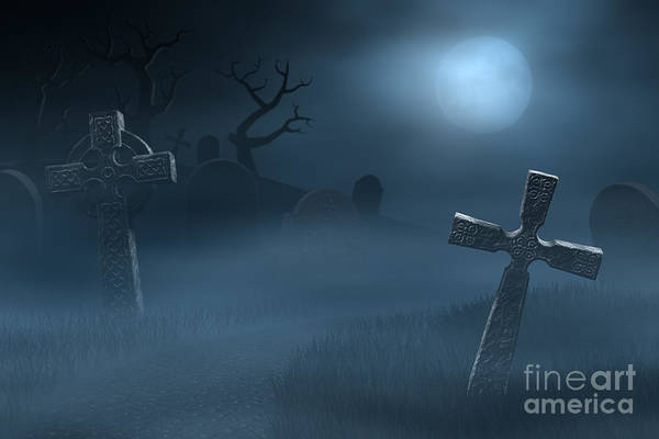Wall Art - Photograph - Tombstones On A Spooky Misty Graveyard, Full Moon At Night by Sara Winter