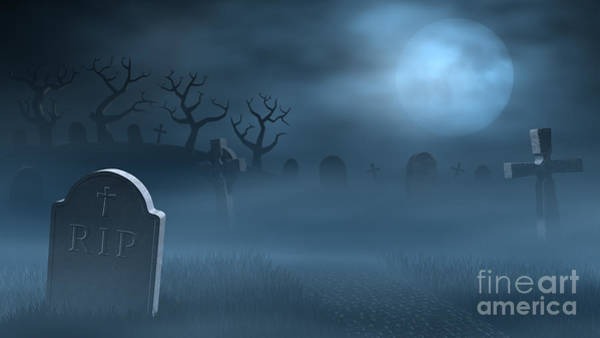 Wall Art - Digital Art - Tombstones On A Spooky Misty Graveyard With A Full Moon At Night by Sara Winter