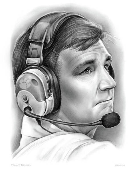 Football Drawing - Tommy Bowden by Greg Joens