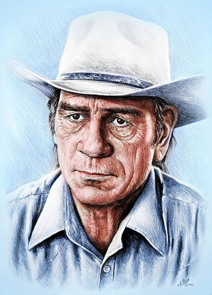 Wall Art - Drawing - Tommy Lee Jones Colour Ver by Andrew Read