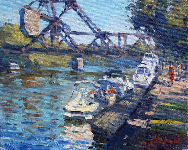 Trains Painting - Tonawanda Jack Knife Bridge by Ylli Haruni