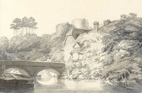 Riverbank Drawing - Tonbridge Castle by Joseph Mallord William Turner