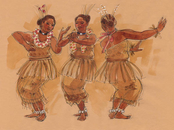 Painting - Tonga Dance From Niuafo'ou by Judith Kunzle