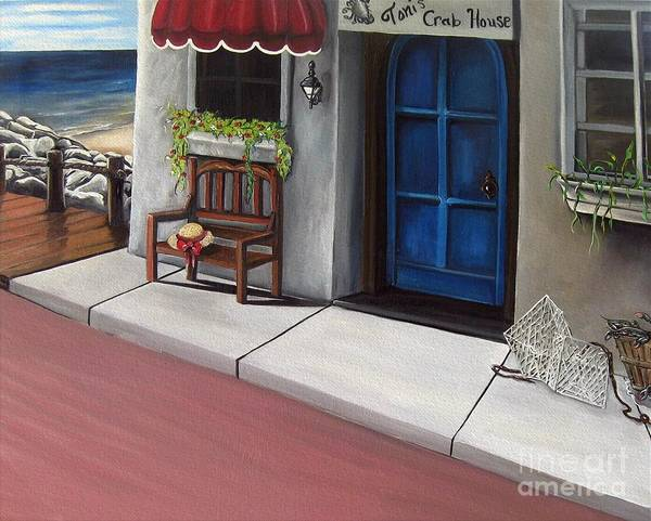 Ocean Scape Painting - Toni's Crab House by Toni  Thorne