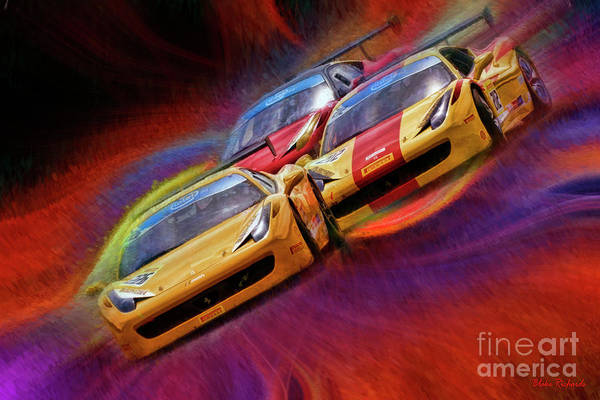 Photograph - Tony Ferraro Leads Mike Louli And Keith Larson Ferrari Challenge 458 by Blake Richards