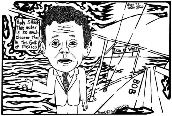 Petroleum Drawing - Tony Hayward Sailing For A Reason By Yonatan Frimer by Yonatan Frimer Maze Artist