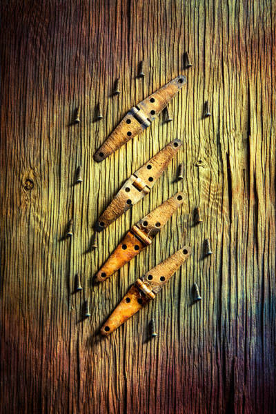 Hinges Photograph - Tools On Wood 46 by YoPedro