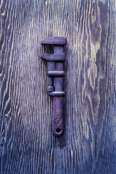 Adjustable Wrench Wall Art - Photograph - Tools On Wood 59 by YoPedro