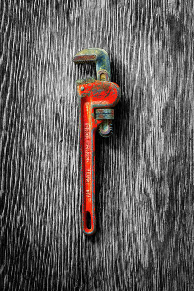 Wall Art - Photograph - Tools On Wood 62 On Bw by YoPedro