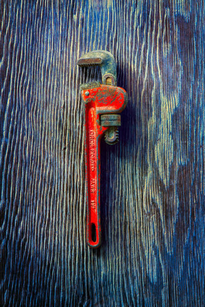 Adjustable Wrench Wall Art - Photograph - Tools On Wood 62 by YoPedro