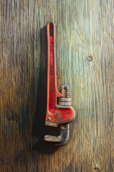 Adjustable Wrench Wall Art - Photograph - Tools On Wood 70 by YoPedro