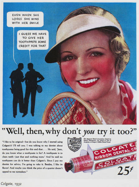 Colgate Wall Art - Photograph - Toothpaste Ad, 1932 by Granger