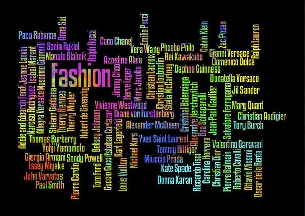 Prada Digital Art - Top Fashion Designers Black Background by Ricky Barnard