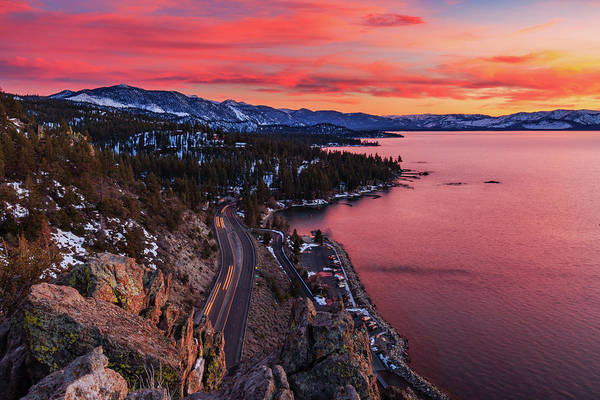 Wall Art - Photograph - Top Of Cave Rock Tahoe Sunset by Mike Herron