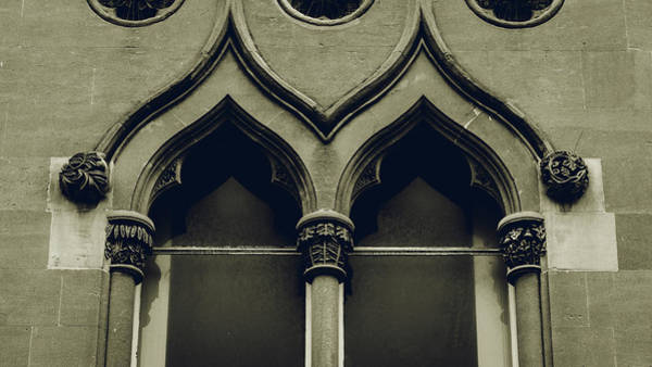 Photograph - Top Of Old English Window With Decorative Columns by Jacek Wojnarowski