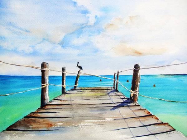 Painting - Top Of Old Pier On Playa Paraiso by Carlin Blahnik CarlinArtWatercolor