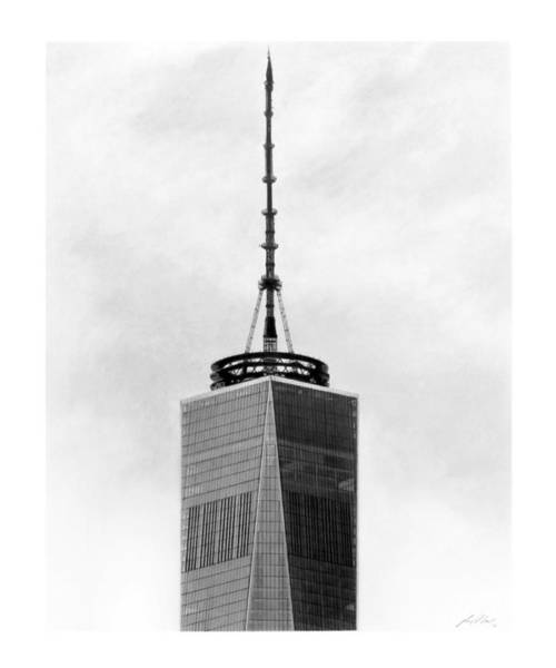 Twin Towers Drawing - Top Of One World by Greg DiNapoli