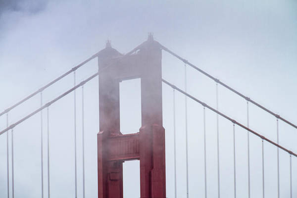 Photograph - Top Of The Golden Gate Bridge In The Fog by Teri Virbickis