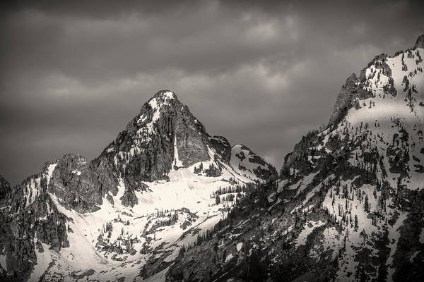 Photograph - Top Of The Grand Tetons Black And White by Dan Sproul