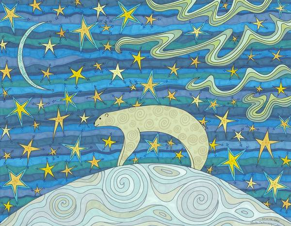 Polar Bear Drawing - Top Of The World by Pamela Schiermeyer