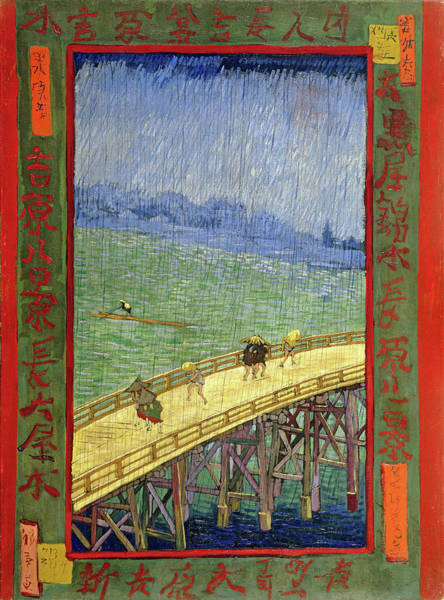 Blast Wave Wall Art - Painting - Top Quality Art - Japonaiserie-rainy Bridge by Vincent Willem van Gogh