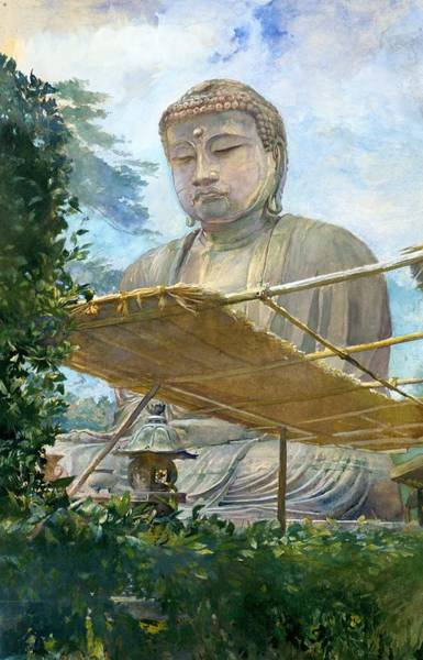 Wall Art - Painting - Top Quality Art - Kamakura Amida Buddha by John La Farge