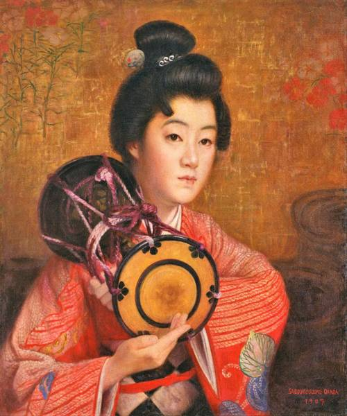 Wall Art - Painting - Top Quality Art - Portrait Of A Lady by Okada Saburosuke