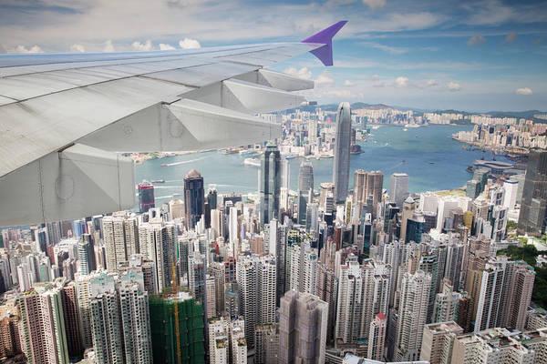 Hongkong Photograph - Top View Of Hong Kong City From Airplane by Anek Suwannaphoom
