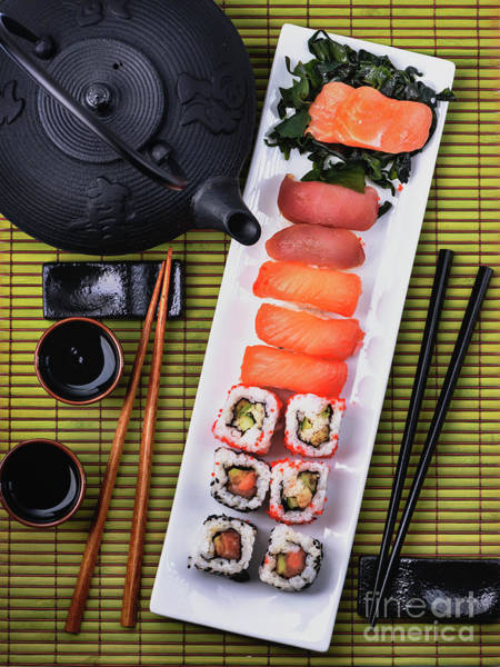 Photograph - Top View Of Sushi Set by Jelena Jovanovic