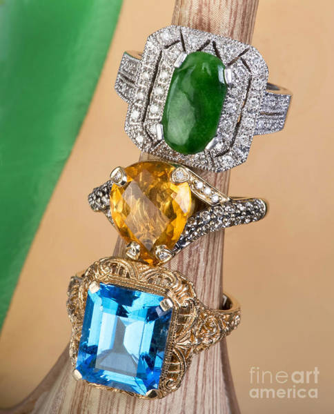 Wall Art - Photograph - Topaz,citrine And Jade Rings. by W Scott McGill