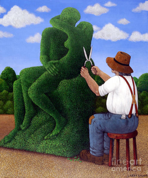 Trimming Painting - Topiary Kiss by Larry Smart