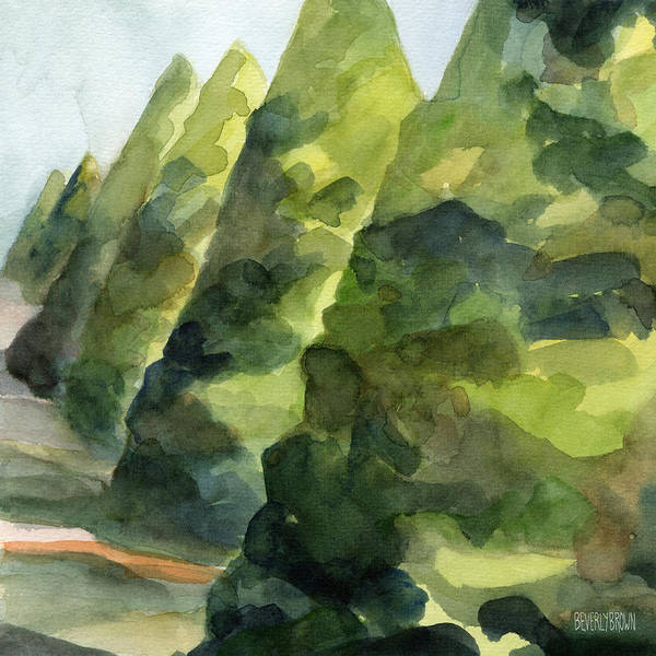 Country Style Painting - Topiary Parc St Cloud Watercolor Painting Of France by Beverly Brown